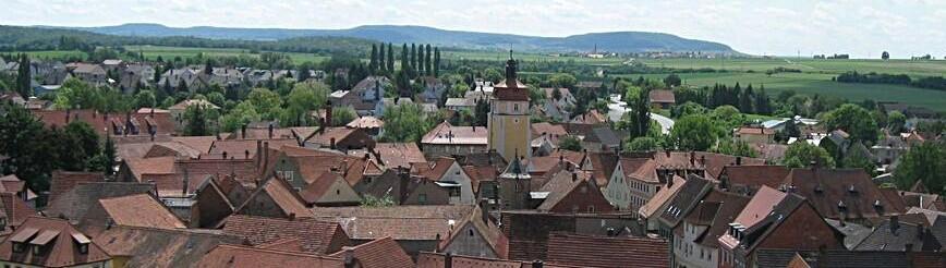 """Blick über die Stadt mit oberem Turm, der """"Weidenturm"""""""